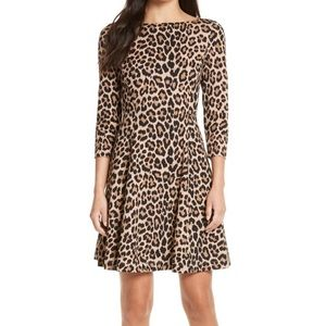 Kate Spade Leopard Print Ponte Fit & Flare Dress